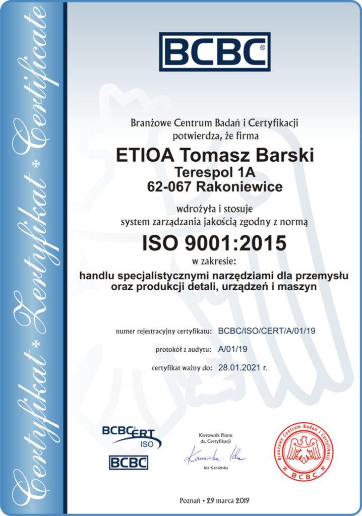 Certyfikat ISO Etioa